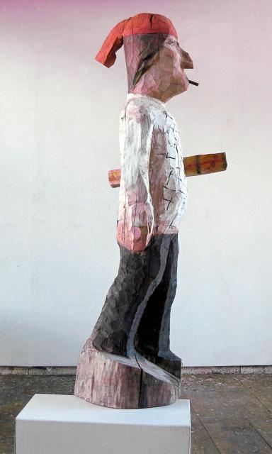 Gratulant, Holz, 160 x 55 x 42 cm, 2009